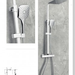 HELIER Square Cool Touch Rigid Riser Shower