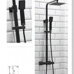 Belliot Thermostatic Black Square Rigid Riser Shower