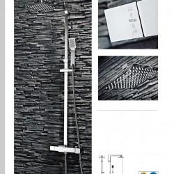 Chrome Square Rigid Riser Shower