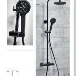 Black Round Rigid Riser Shower