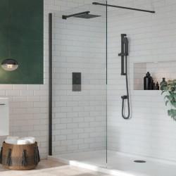 S8 Black Profile Single Wetroom Panel