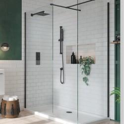 S8 Black Profile Walk In Wetroom Panel Configuration