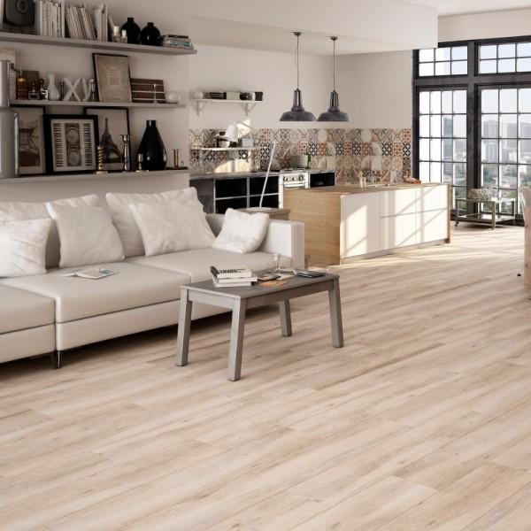 Leah Atelier Porcelain Wood Effect Blanco White Cream 120CM X 23.3CM Wall And Floor Tile