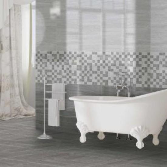 Wavestone Dark Grey Gloss 25x40 Ceramic Wall