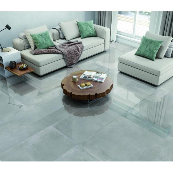 Oxedium Digital Grey Super Mirror High Gloss Rect Large 120x60 Wall and Floor