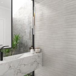 Cementos Feature Cloud Decor Linear Silver Light Grey Matt Ceramic Wall 30x90