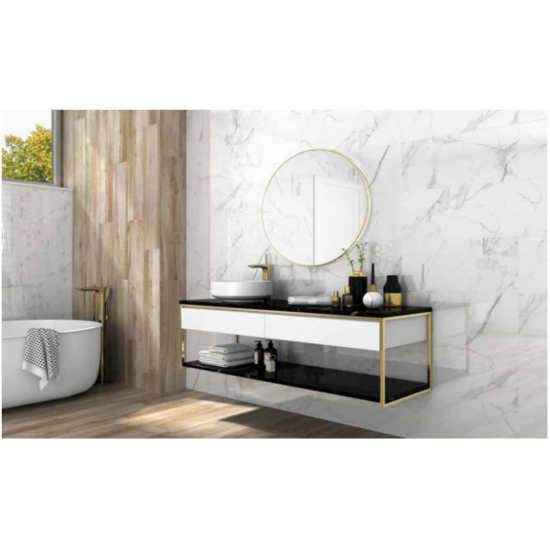 Carrara Marble White Satin Large 45x90 Wall and Floor