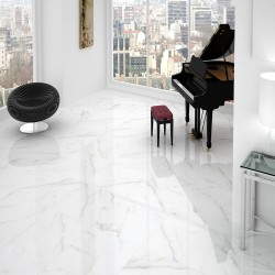 Carrara Polished Marble Effect White Gloss Rect Large 80x80 Wall and Floor
