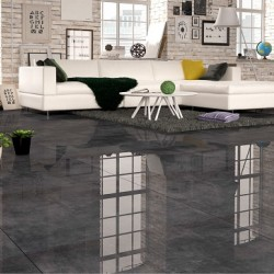 Reflections Dark Grey Black Mirror High Gloss Rectified 80x80 Floor And Wall