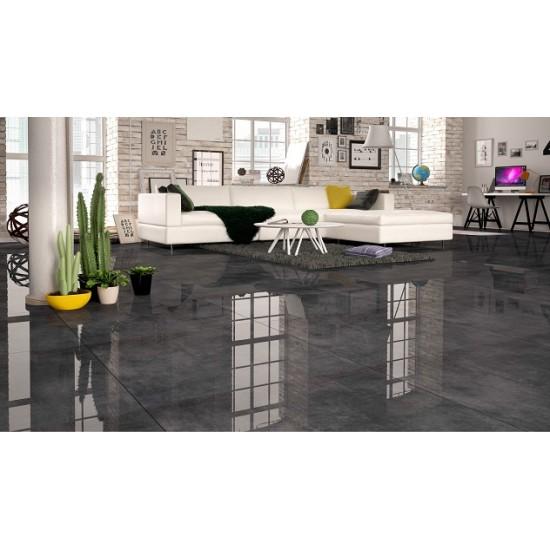 Reflections Dark Grey Black Mirror High Gloss Rectified 80x80 Floor And Wall