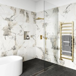 Invisible Rectified Gold Marble Polished Porcelain Tiles 60cmx60cm