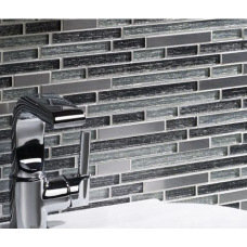 Waterfall Silver Glass/Stone/Metal Mix Offset Linear Mosaic
