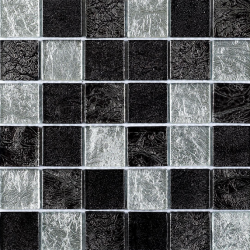 Black/Silver Leaf Mix Glass Mosaic