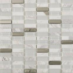 Button White Glass, Stone and chrome tile mosaic 30cmx30cm