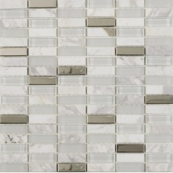 Button White Glass, Stone and chrome mosaic