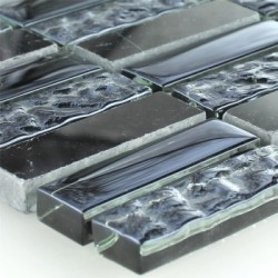 Smoked Black Marble and glass Mosaic