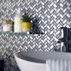 Dusk Grey Herringbone Glass & Mirror Mosaic