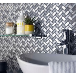 Dusk Grey Herringbone Glass & Mirror Mosaic