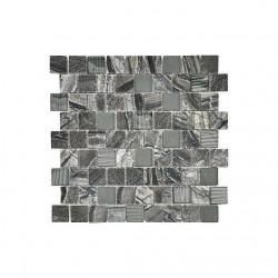 Oak Grey Marble, Quartz and Glass mix Mosaic