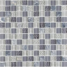 Soft Grey Glass and Silver stone Mosaic