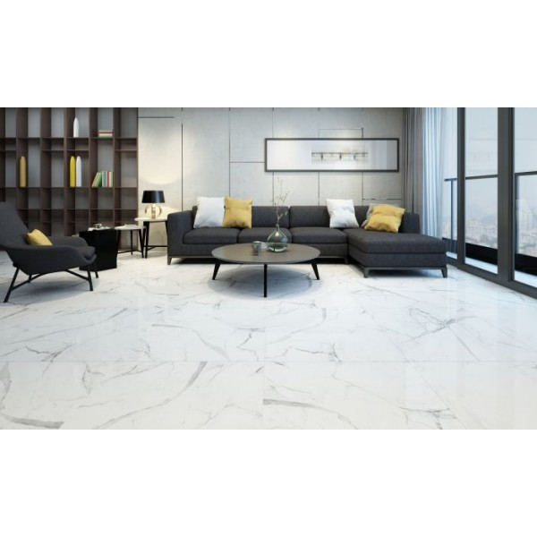 Valetta Stones White Marble High Gloss Mirror Porcelain Floor 60x60