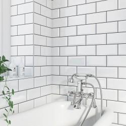 Underground White Metro Gloss Ceramic 100x200 Kitchen Wall Tiles