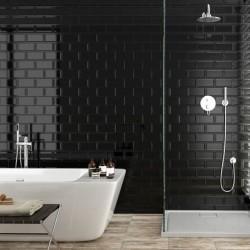 Underground Black Metro Gloss Ceramic 100x200 Kitchen Wall Tiles