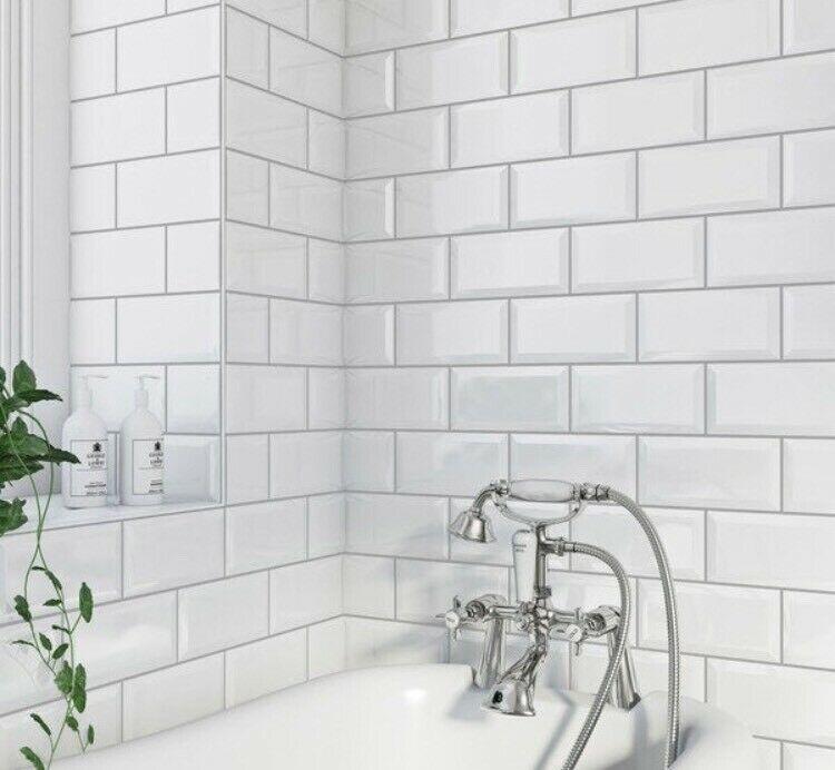 Underground White Metro Gloss Ceramic 100x200 Kitchen And Bathroom Wall Tiles